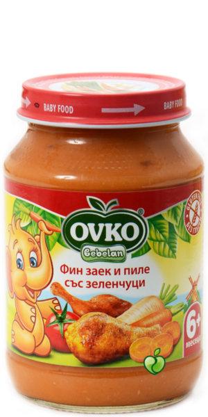 Овко Бебешко пюре/Меню фин заек с пилешко и зеленчуци/190гр. 5м+ 7158